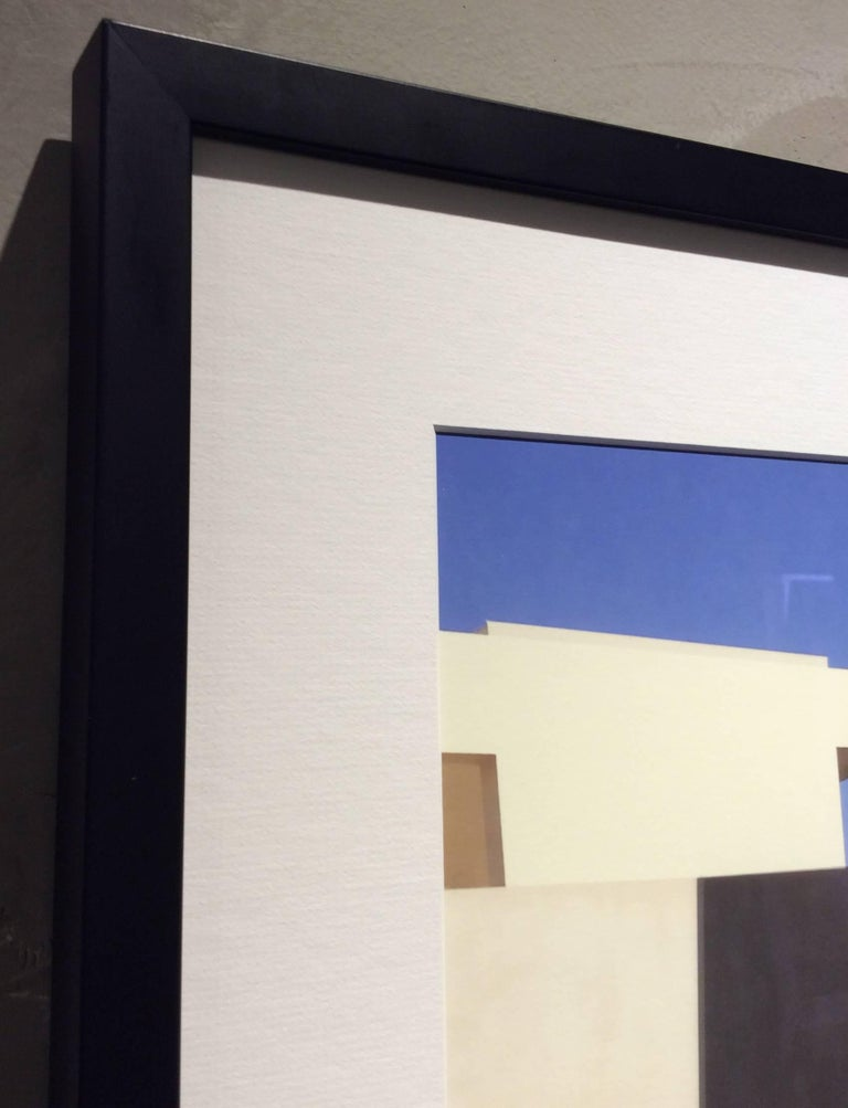 White Facade: Architectural Inkjet Print of White Minimalist Building & Blue Sky - Contemporary Photograph by Stephanie Blumenthal