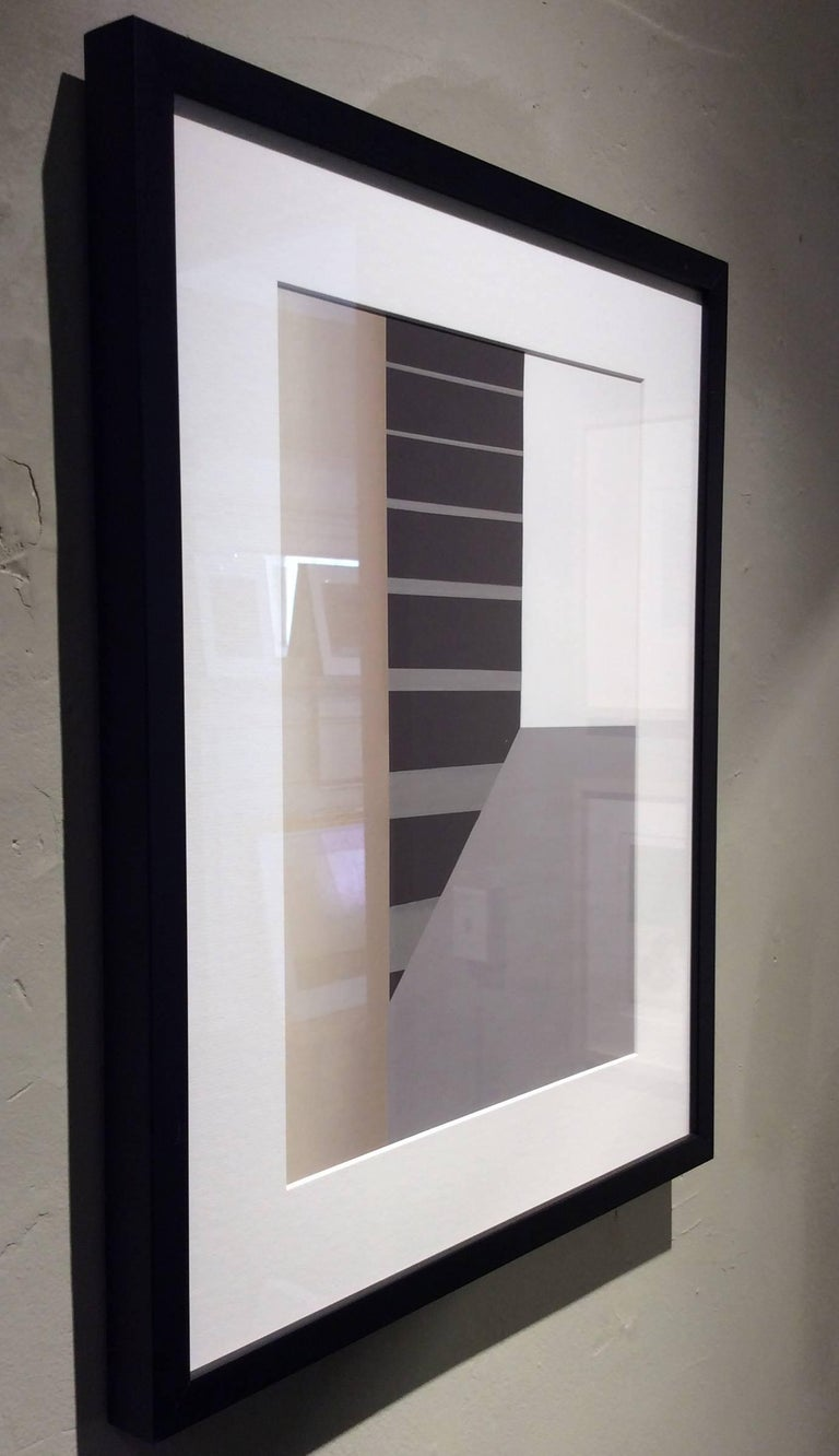 Columns and Stairs (Modern Abstracted Inkjet Print of Minimalist Interior) - Gray Abstract Photograph by Stephanie Blumenthal
