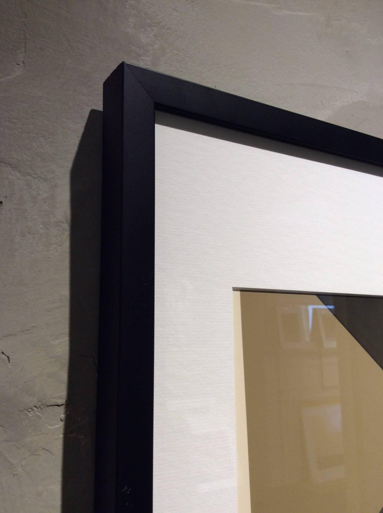 Green Stairs: Modern Abstract Inkjet Print of Minimalist Interior in Black Frame - Contemporary Photograph by Stephanie Blumenthal
