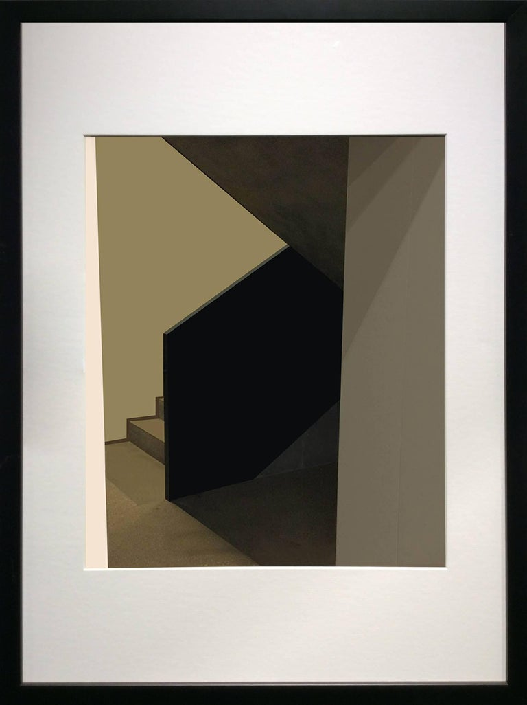 Green Stairs: Modern Abstract Inkjet Print of Minimalist Interior in Black Frame - Photograph by Stephanie Blumenthal