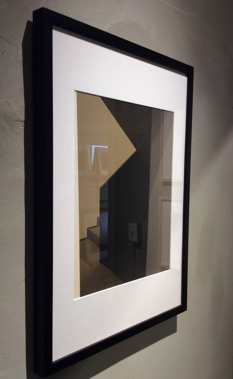 Archival inkjet print 24 x 18 inches in black frame with white mat   This abstracted photograph by Western Massachusetts-based artist Stephanie Blumenthal, offers a glimpse into a shadowy architecturally minimalist stairwell. Her monochromatic