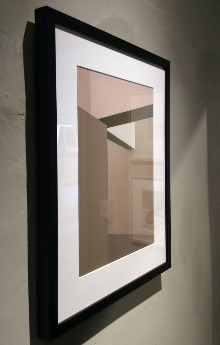 Archival inkjet print 21 x 17 inches in black frame with white mat   This abstracted image, a manipulated photograph by Western Massachusetts-based artist Stephanie Blumenthal, offers a glimpse between two columns at a sliver of stairs. Her neutral