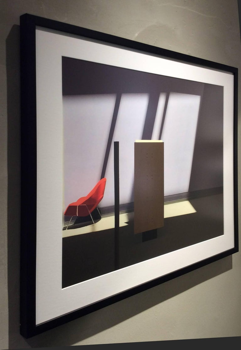 Archival inkjet print 26 x 30 inches in black frame with white mat   This image, a manipulated minimalist photograph by Western Massachusetts-based artist Stephanie Blumenthal, offers an unusual view into a sparsely furnished room, its main accent