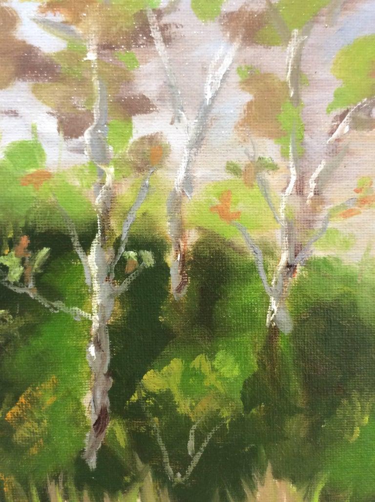 Hugh Brandt Three Sycamore Trees Small Oil Landscape