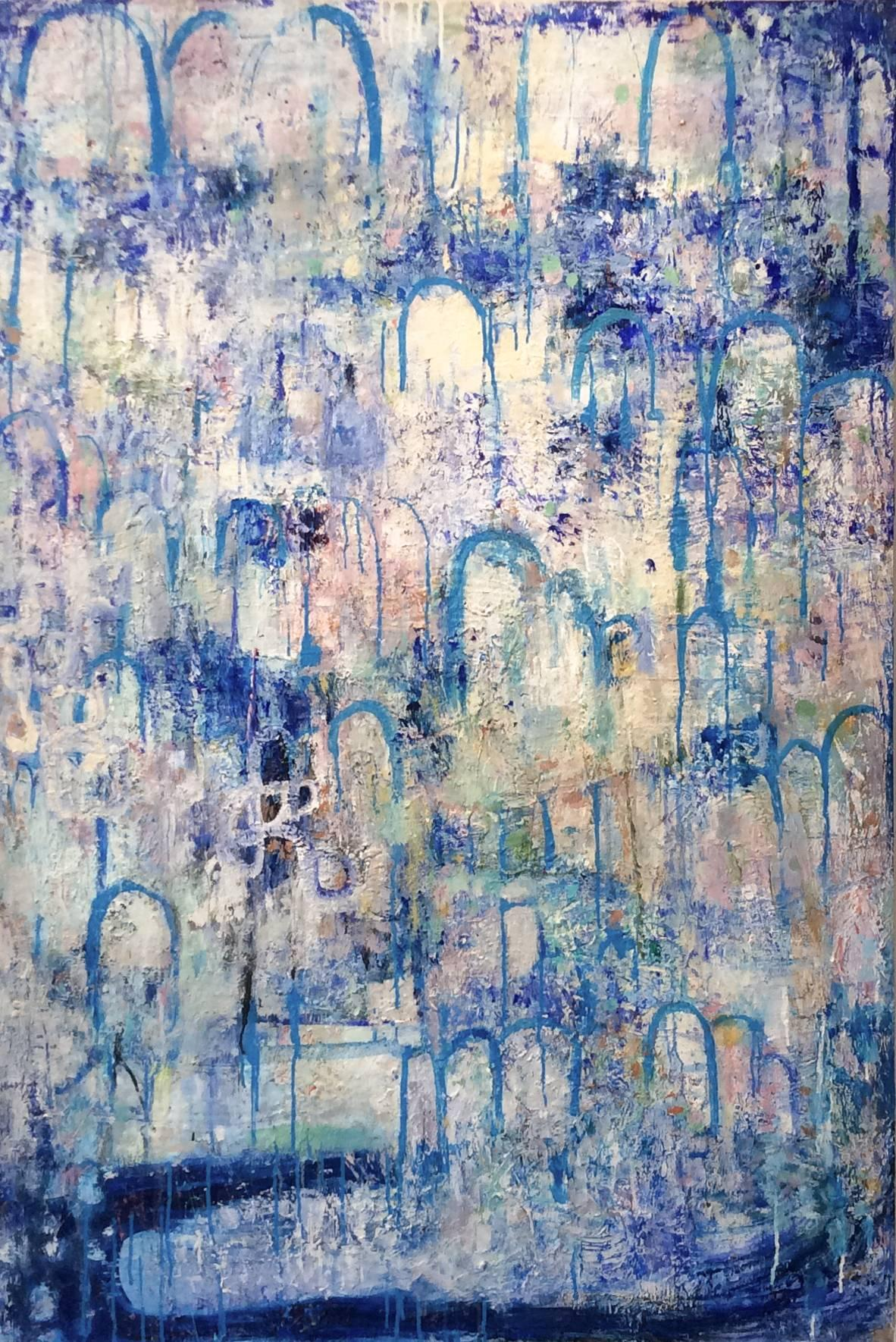 Hydrology (Contemporary Vertical Abstract Expressionist Painting, Blue & White)