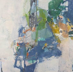 Fill the Sails (Contemporary Abstract Painting in Dusty Blue, Green, Pale Pink)