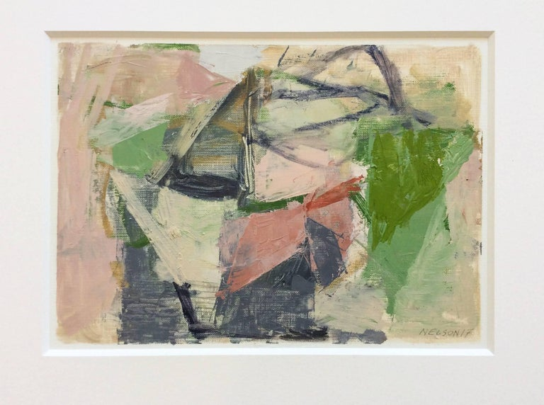 Jenny nelson untitled pink small abstract painting on for Small canvas boards