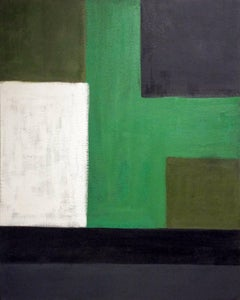 Study: Green, Black, White (Abstract Painting on Canvas)