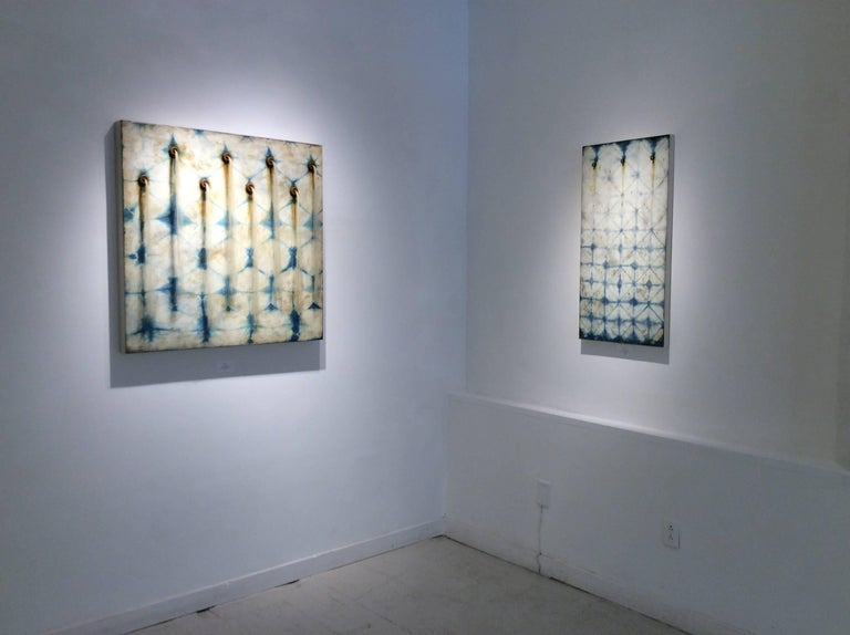 Artesian Wall (Square Indigo Silk & Encaustic Work on Panel with Horse Hair ) For Sale 5