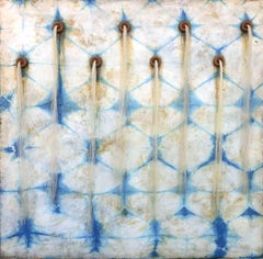 Artesian Wall (Square Indigo Silk & Encaustic Work on Panel with Horse Hair )