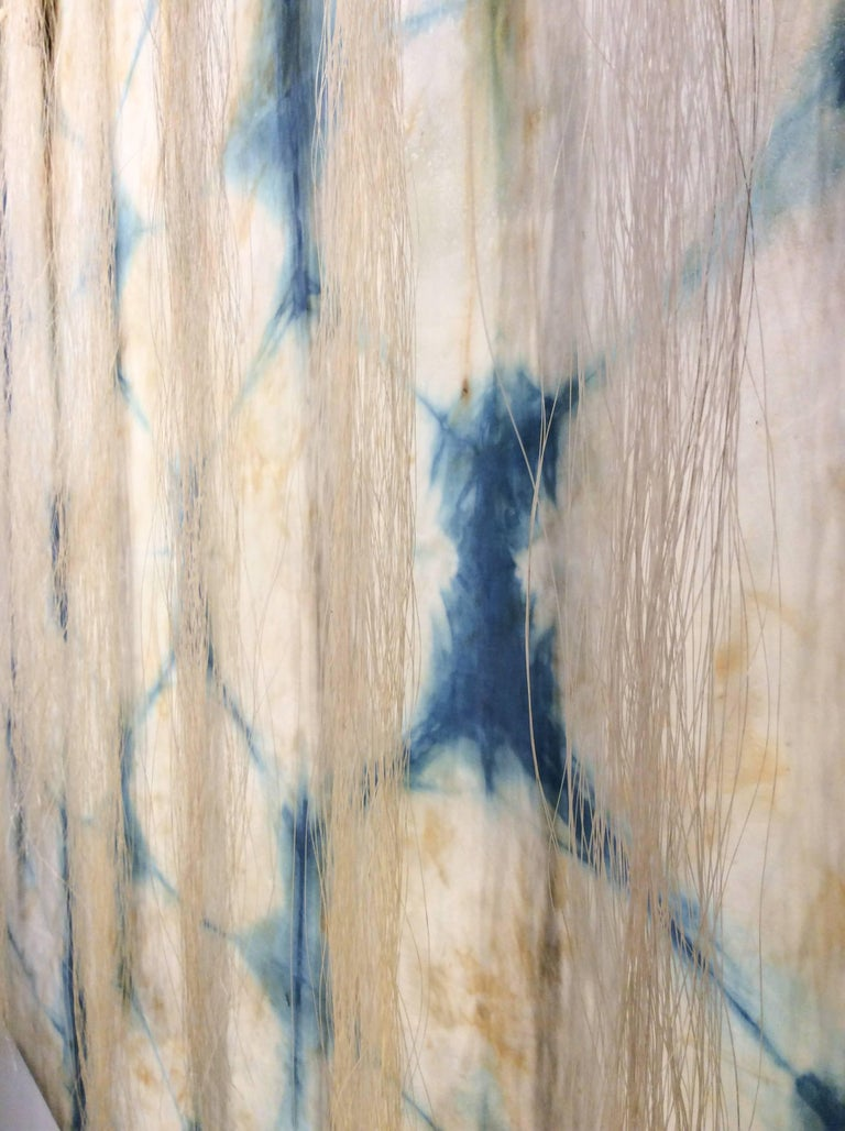 Hand dyed indigo silk and encaustic on wood panel 36 x 36 inches  This contemporary pattern-based abstract silk and encaustic work on panel was created by San Francisco-based artist Susan Stover as part of her Indigo series, so-named for the