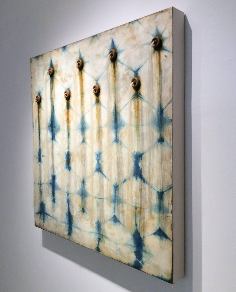Artesian Wall (Square Indigo Silk & Encaustic Work on Panel with Horse Hair ) For Sale 3