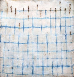 Resurrection (Modern Minimalist Blue Indigo Silk & Encaustic Work on Panel)