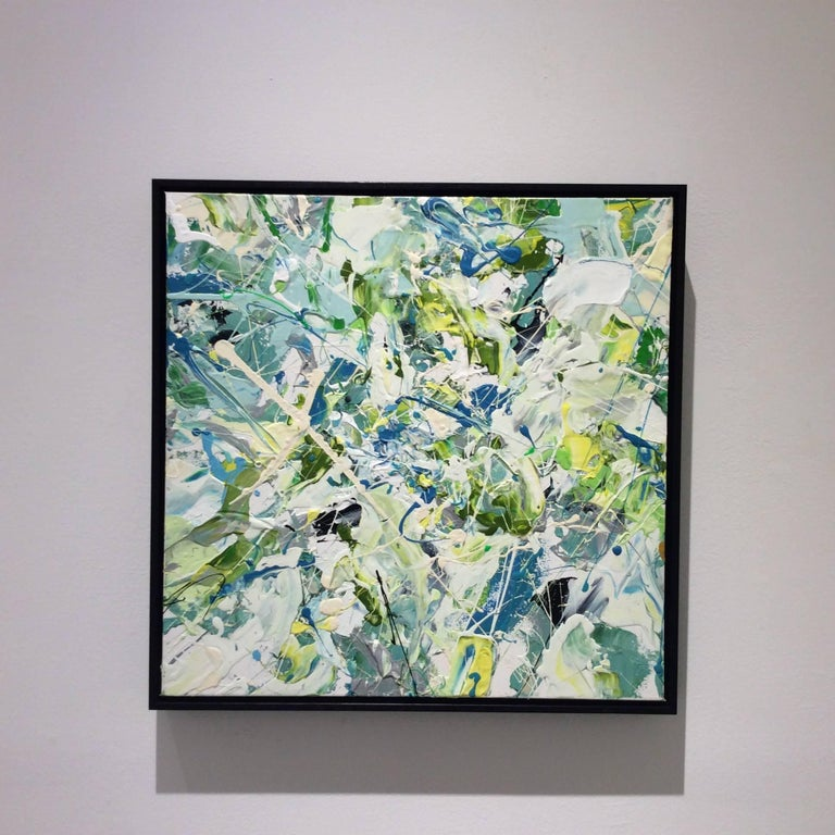 Early July (Contemporary Abstract Expressionist Painting in White, Green & Blue) - Gray Abstract Painting by Adam Cohen