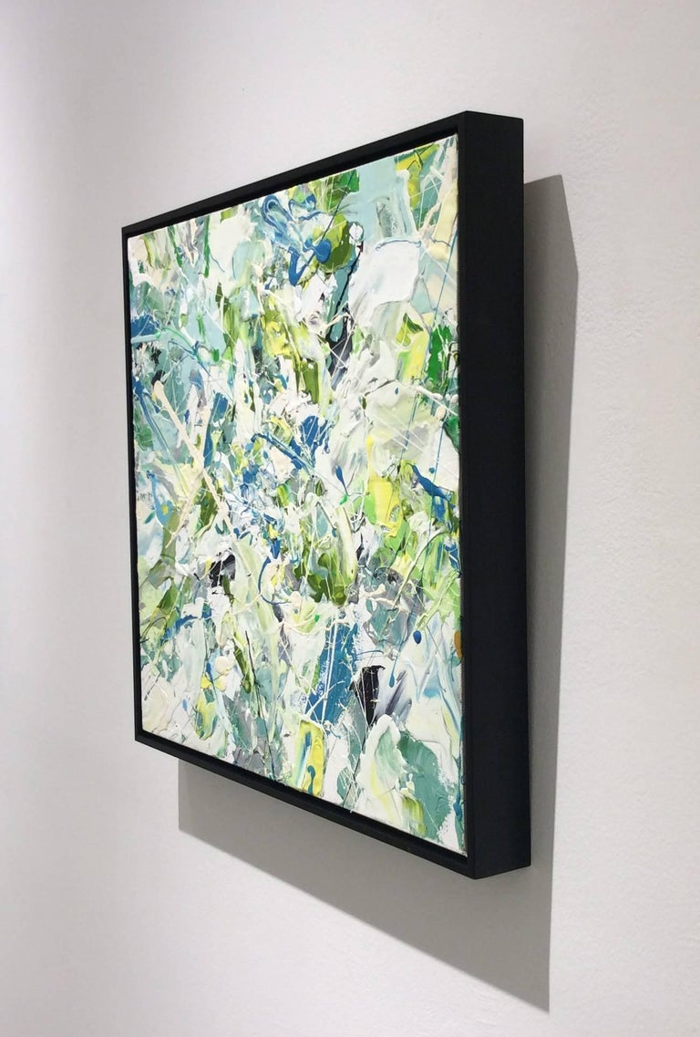 Modern abstract expressionist painting on canvas  20 x 20  inches on stretched canvas, signed and dated on reverse Complimented with a black stained walnut Larson-Juhl floater frame  This contemporary abstract expressionist style painting was