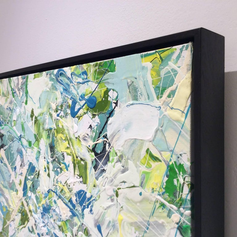 Early July (Contemporary Abstract Expressionist Painting in White, Green & Blue) For Sale 1