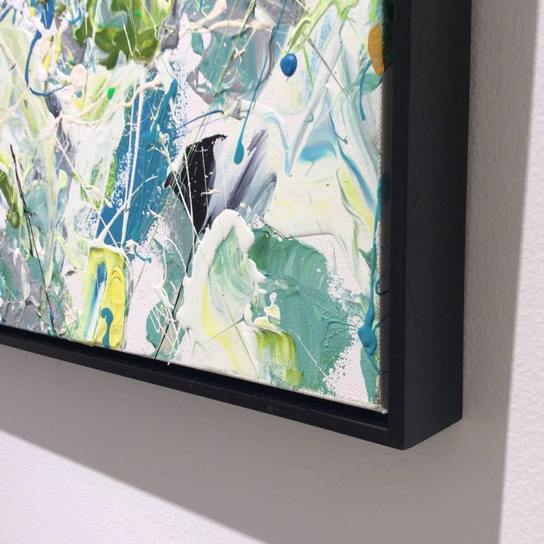 Early July (Contemporary Abstract Expressionist Painting in White, Green & Blue) For Sale 2