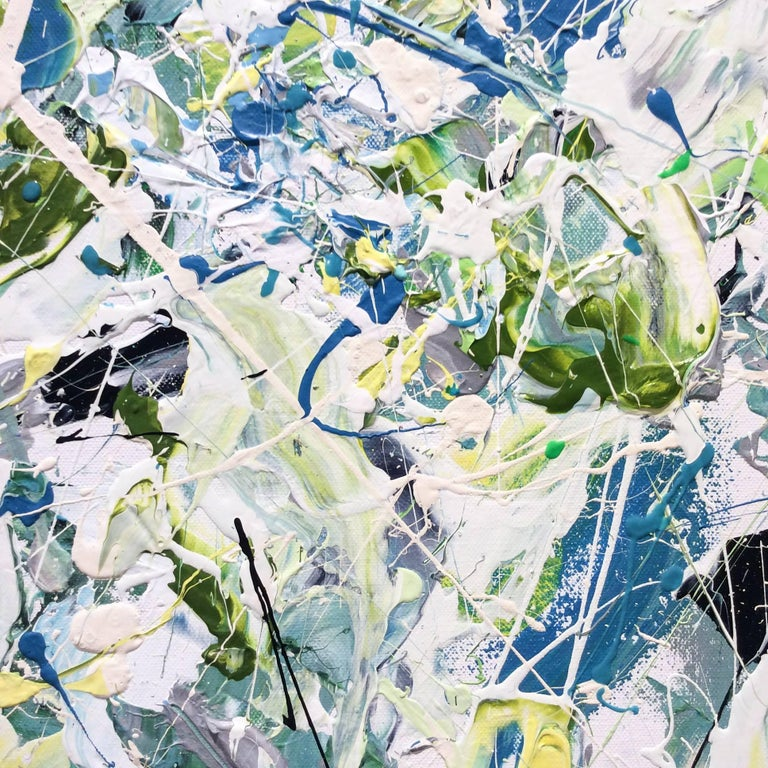 Early July (Contemporary Abstract Expressionist Painting in White, Green & Blue) For Sale 3