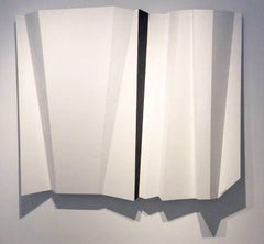 Parting Horizon (Contemporary Abstract Minimalist White & Black Wall Sculpture)