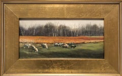 Sheep Grazing (Small Landscape Oil Painting of Country Field, Gold Frame)