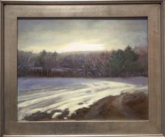 Winter Corn Field (Landscape Oil Painting of Snowy Country Field, Silver Frame)