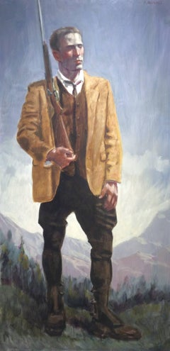 Timothy Smithe Hunting (Modern Figurative Painting of Male Hunter in Landscape)