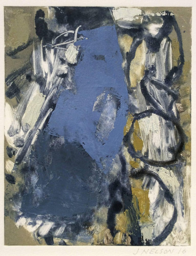 Untitled (blue and gold):  Hand embellished monoprint