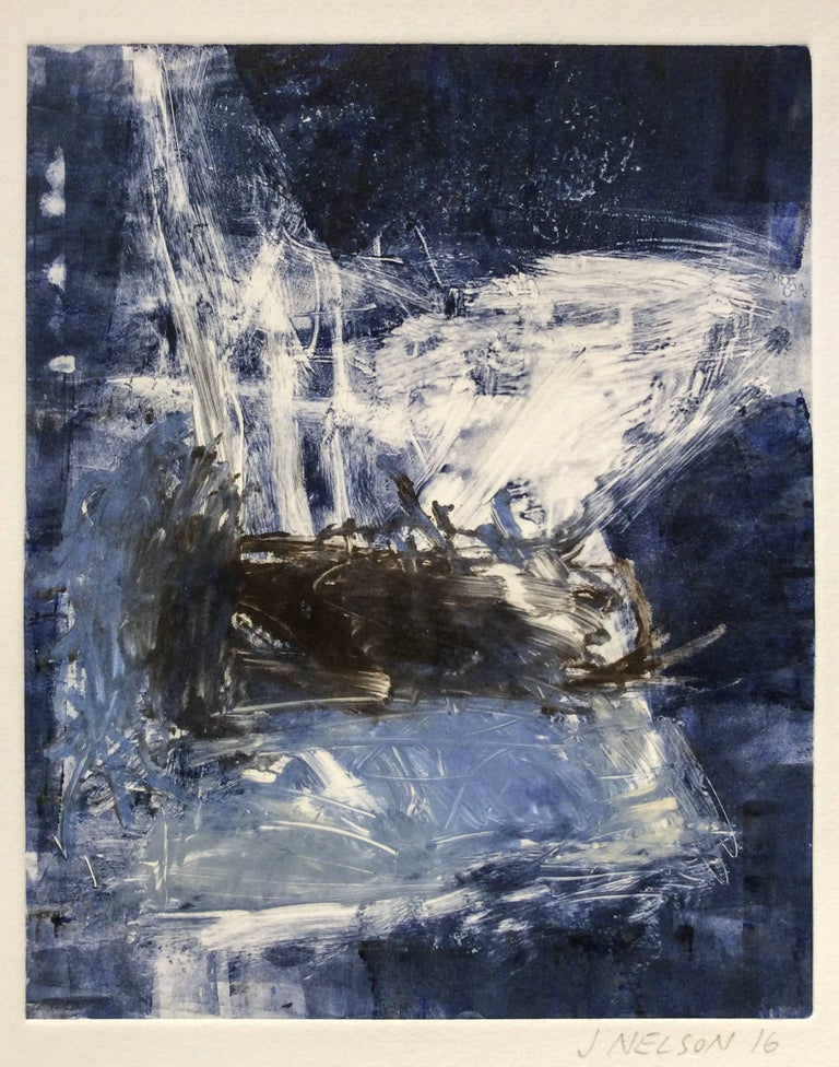 Untitled (blue and white):  Hand embellished monoprint