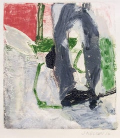Untitled (red, gray, green):  Hand embellished monoprint