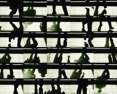 Street Dance 3.12 x 16 (Graphic Abstract Black & White Grid Urban Photograph)