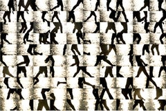 Hudson River 10 2x81 (Graphic Abstract Grid Photograph of Runners in NYC)