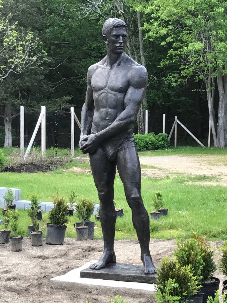 Statue of Athlete: Large Academic Style Bronze Figurative Sculpture of Nude Male For Sale 1