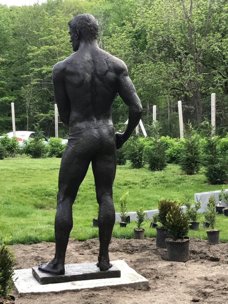 Statue of Athlete: Large Academic Style Bronze Figurative Sculpture of Nude Male For Sale 2