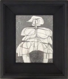 Infanta LI (Small Abstract Cubist Graphite Drawing in Vintage Black Frame)