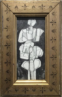 Infanta XXXVI (Small Abstract Cubist Graphite Drawing in Vintage Frame)