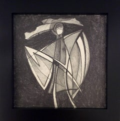 Jazz Figure 1 (Small Square Abstract Cubist Graphite Drawing in Vintage Frame)
