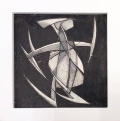 Jazz Figure 2 (Small Square Abstract Cubist Graphite Drawing in Vintage Frame)