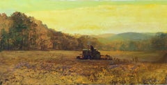 #5425 Field Work: Impressionist Landscape Painting of Tractor in Wheat Field