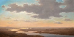 Above the Valley: Landscape Oil Painting of Sunset of the Hudson River Valley