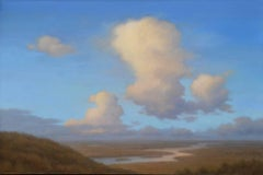 Chasing Light: Landscape Oil Painting of Blue Sky & Clouds in Hudson Valley