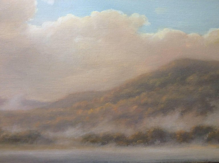 From Oak Hill: Luminist-Style Landscap Oil Painting of Hudson Valley Hills - Gray Landscape Painting by Jane Bloodgood-Abrams