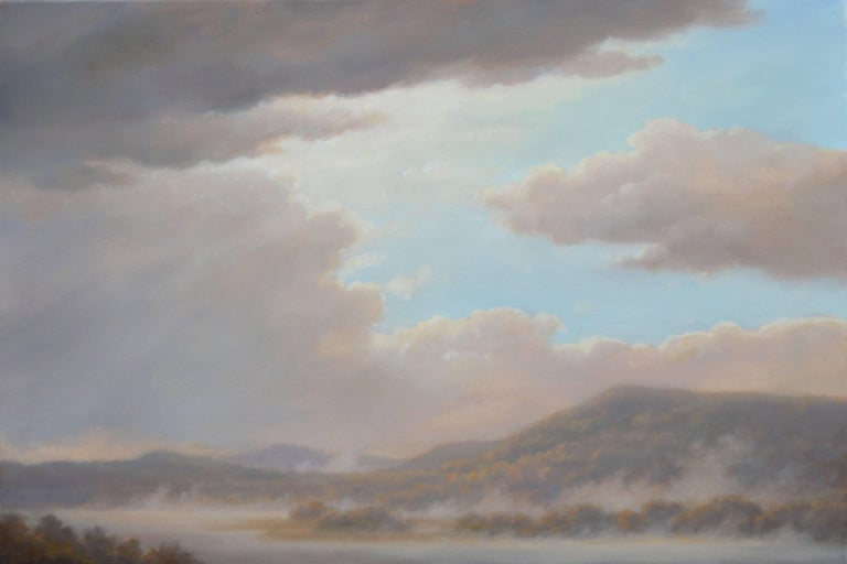 Jane Bloodgood-Abrams Landscape Painting - From Oak Hill: Luminist-Style Landscap Oil Painting of Hudson Valley Hills