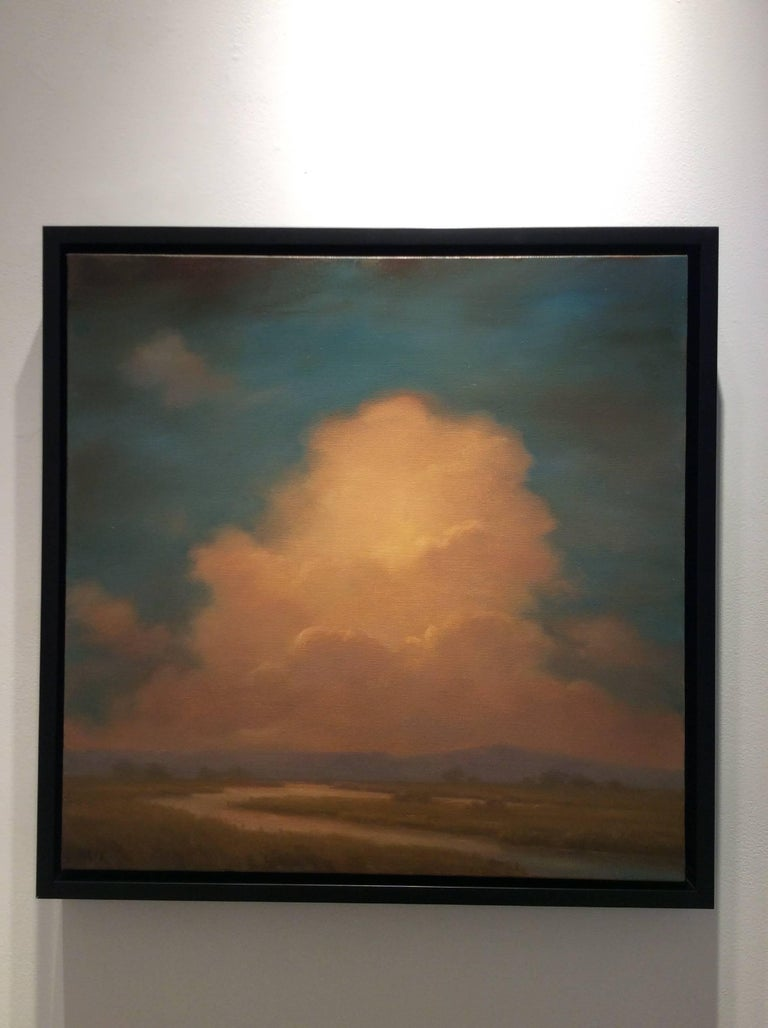 landscape oil painting on canvas 22 x 22 inches in thin black frame  Jane Bloodgood-Abrams highlights the sublime beauty of the Hudson River Valley with this square landscape painting on canvas, with warm-hued clouds looming over marshland and