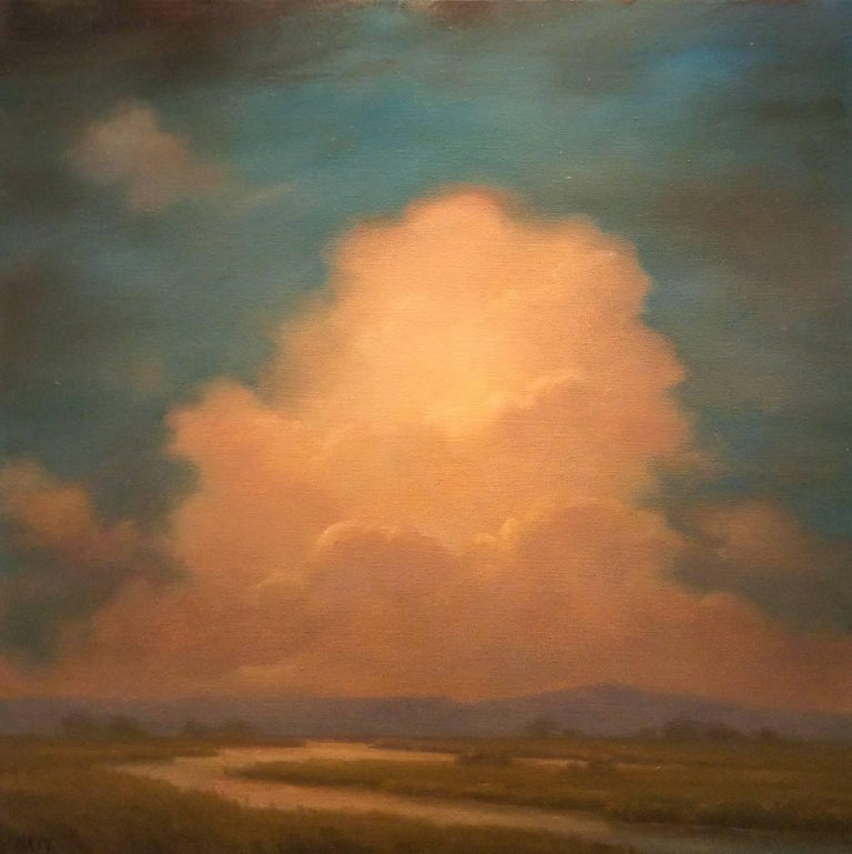 Jane Bloodgood-Abrams Landscape Painting - Oneness: Luminist-Style Landscape Oil Painting of Clouds and Blue Mountains