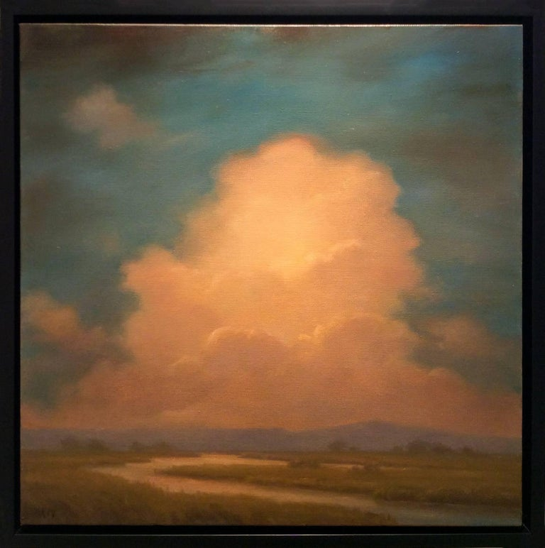 Oneness: Luminist-Style Landscape Oil Painting of Clouds and Blue Mountains - Brown Landscape Painting by Jane Bloodgood-Abrams