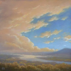 Clouds Rising - View from Olana: Small Square Oil Landscape Painting