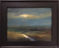 Midnight Marsh (Modern Landscape Painting of Moonlit Country Field, Framed)