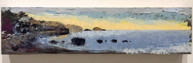 Sunrise (Impressionist Panoramic Landscape / Shoreline Oil Painting) 6 x 24 x 2 inches unframed oil on panel  This panoramic, impressionistic-style landscape oil painting on wood panel of a rocky coastline was painted by Rhinecliff, NY based artist