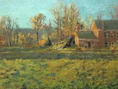 #5511 The Old Walker House: Modern Impressionist Landscape Oil Painting on Linen