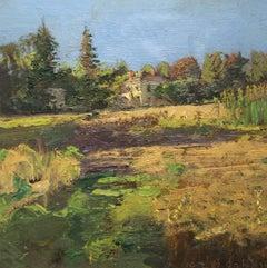#5513 House on East Main:  Modern Impressionist Landscape Oil Painting on Linen